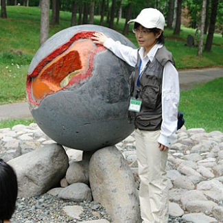 An earth with a diameter of one meter, and inside is the….