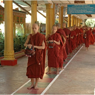 Kha Khat Wain Kyaung monastery in Bago. About 200 monks are training themselves.