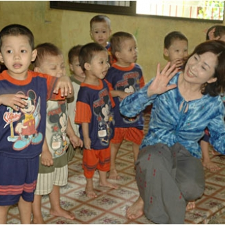 "In an orphanage. We sang ""Twinkle, Twinkle, Little Star"" together."