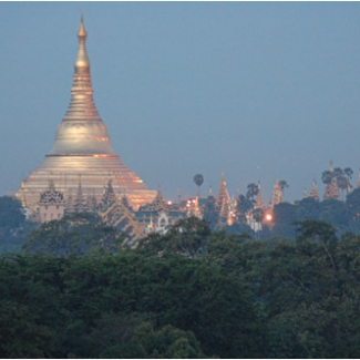 Evening view in Yangon