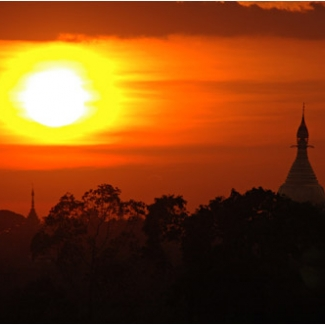 Sunset over a pagoda