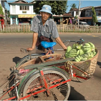 サイドカー(!?)でバナナを売ってた