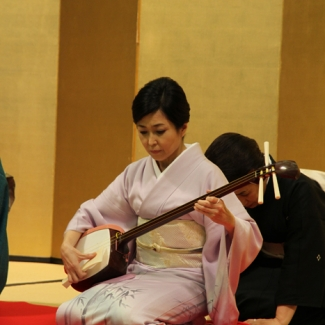 Prompted by teacher of Shamisen