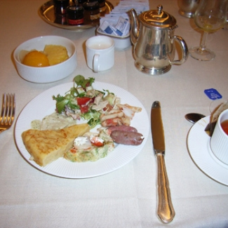 July 18: Madrid Breakfast at Hotel Spanish omelet, too