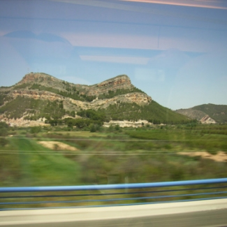 View of desert from train window