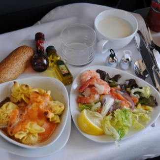 July 22 Zaragoza→Barcelona, in-train lunch service Gnocchi was the main dish