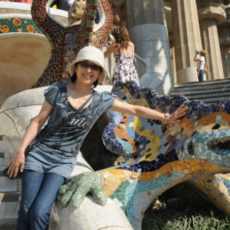 Symbol of the Guell Park A lizard mosaic Smiling maybe because they are Gaudi's friends