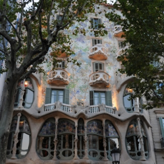 Gaudi construction in Barcelona (3) The World Heritage 'Casa Batlló' based on the Mediterranean Sea