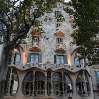 Gaudi construction in Barcelona (3) The World Heritage 'Casa Batlló' based on the Mediterranean Sea