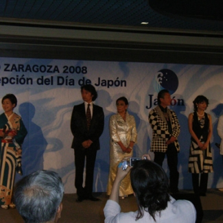 ジャパンウィークに御出演の東儀秀樹さん、小松原庸子さん、山本寛斎さん、 村治佳織さん、渡辺貞夫さんと