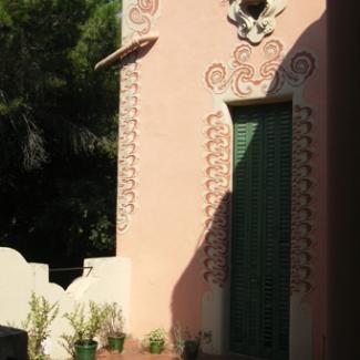 掻き絵の外壁